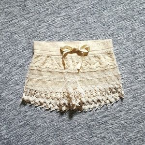 NWOT Linen Shorts With Crochet Detail